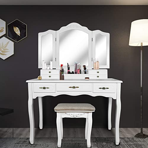 SCYL Color Your Life Tri Folding Mirror Vanity Table Set Dressing Table with Cushioned Stool 7 Storage Drawer Wood Furniture Pearl White