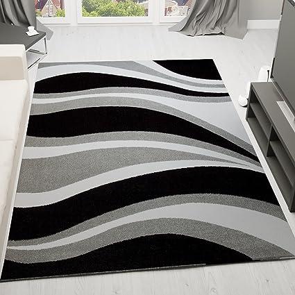 Vimoda Tapis Moderne Vagues Design A Poils Ras Gris Noir Et Blanc