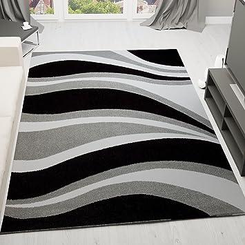 alfombra moderna diseo de ondas pelo corto gris negra y blanca muy