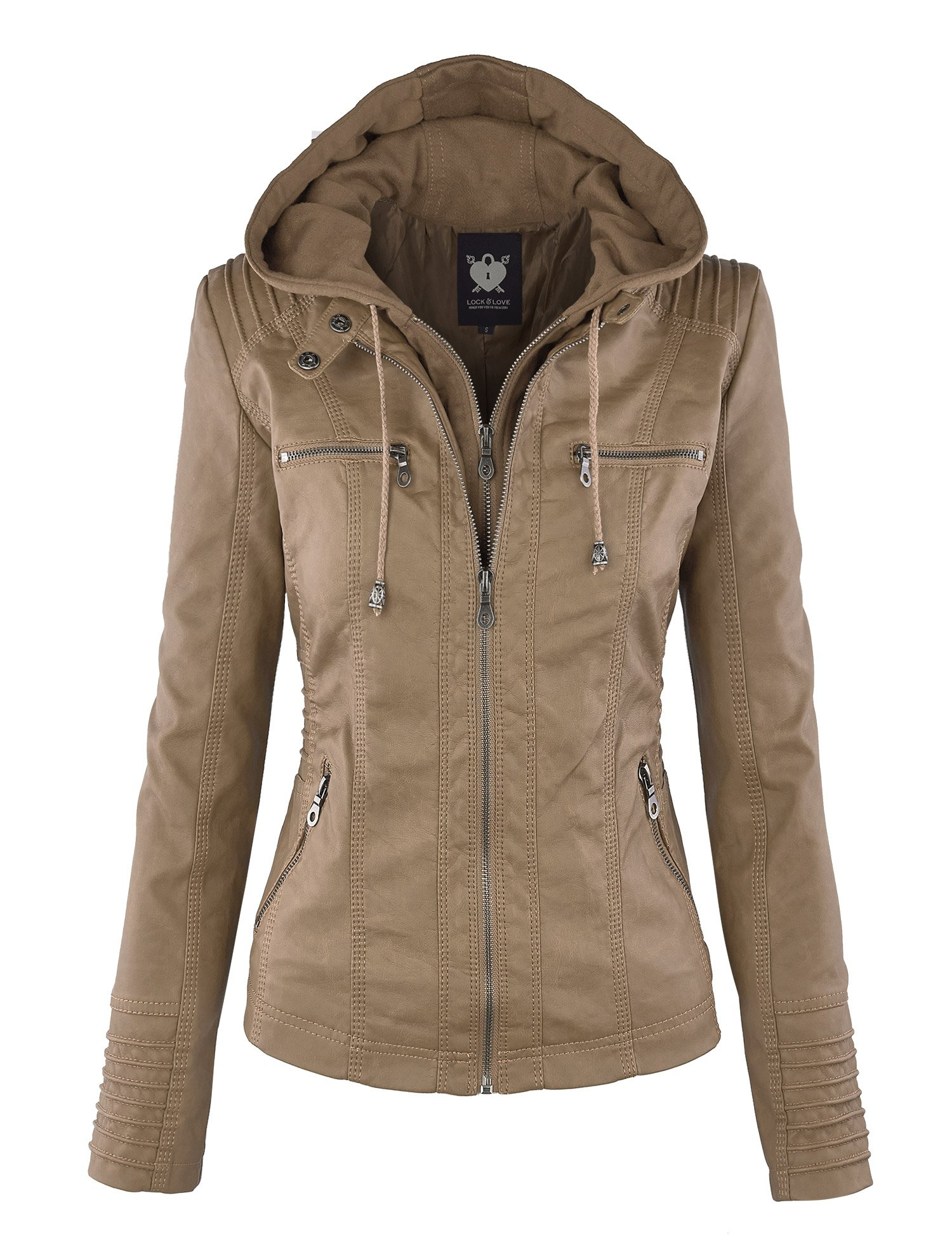 WJC663 Womens Removable Hoodie Motorcyle Jacket M KHAKI