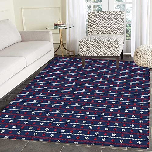 Navy Blue Floor Mat Pattern Horizontal Borders with Nautical Elements Marine Rope Anchor and Helm Living Dinning Room Bedroom Mats 5 x6 Red White Dark Blue