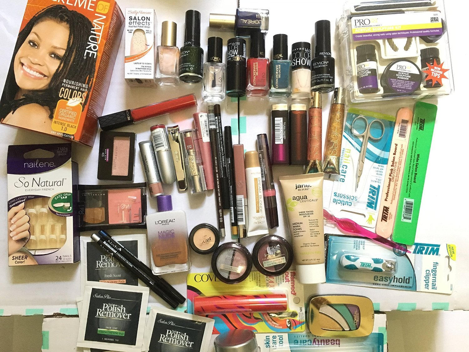 100 Pc Wholesale Makeup Revlon,l'oreal,maybelline,prestige,nyc,jane,kiss, Nails,karma,trim and Nails Accessories,perfumes,hair Color,trim Accessories and Many Many More