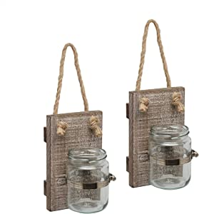 Stonebriar Rustic White Wash Wooden Mason Jar Wall Sconce Set with Hanging Loop