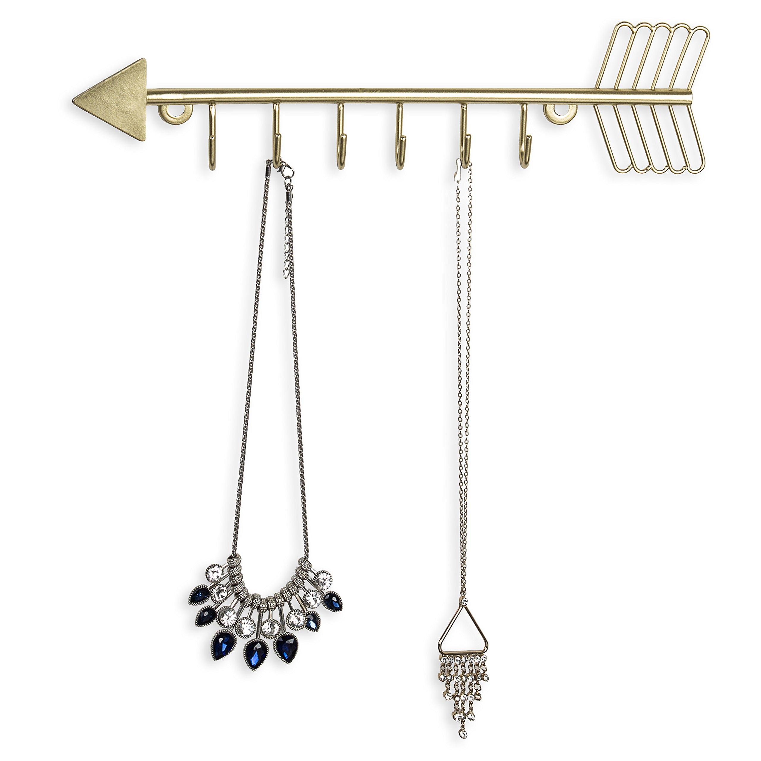 Arrow Design Wall Mounted Brass-Tone Metal 6 Hook Necklace Organizer Hanging Rack
