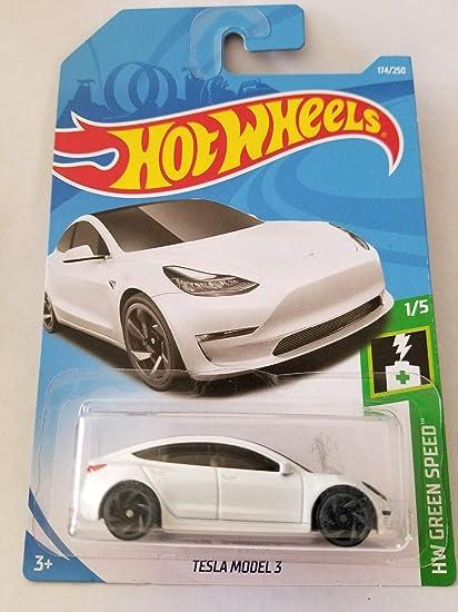 Amazon Com Hot Wheels 2019 Hw Green Speed Tesla Model 3 174 250 White Toys Games
