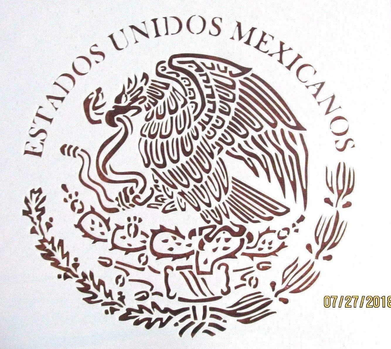 OutletBestSelling - Plantilla Reutilizable y Resistente con Emblema de Bandera Mexicana, 10 mil de Mylar: Amazon.es: Juguetes y juegos