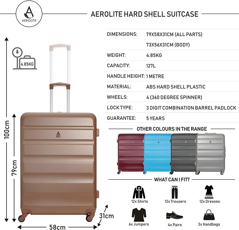 Cabine + Grand, Rose Or Aerolite ABS Valise Rigide Poids l/éger 4 roulettes Set de Bagages