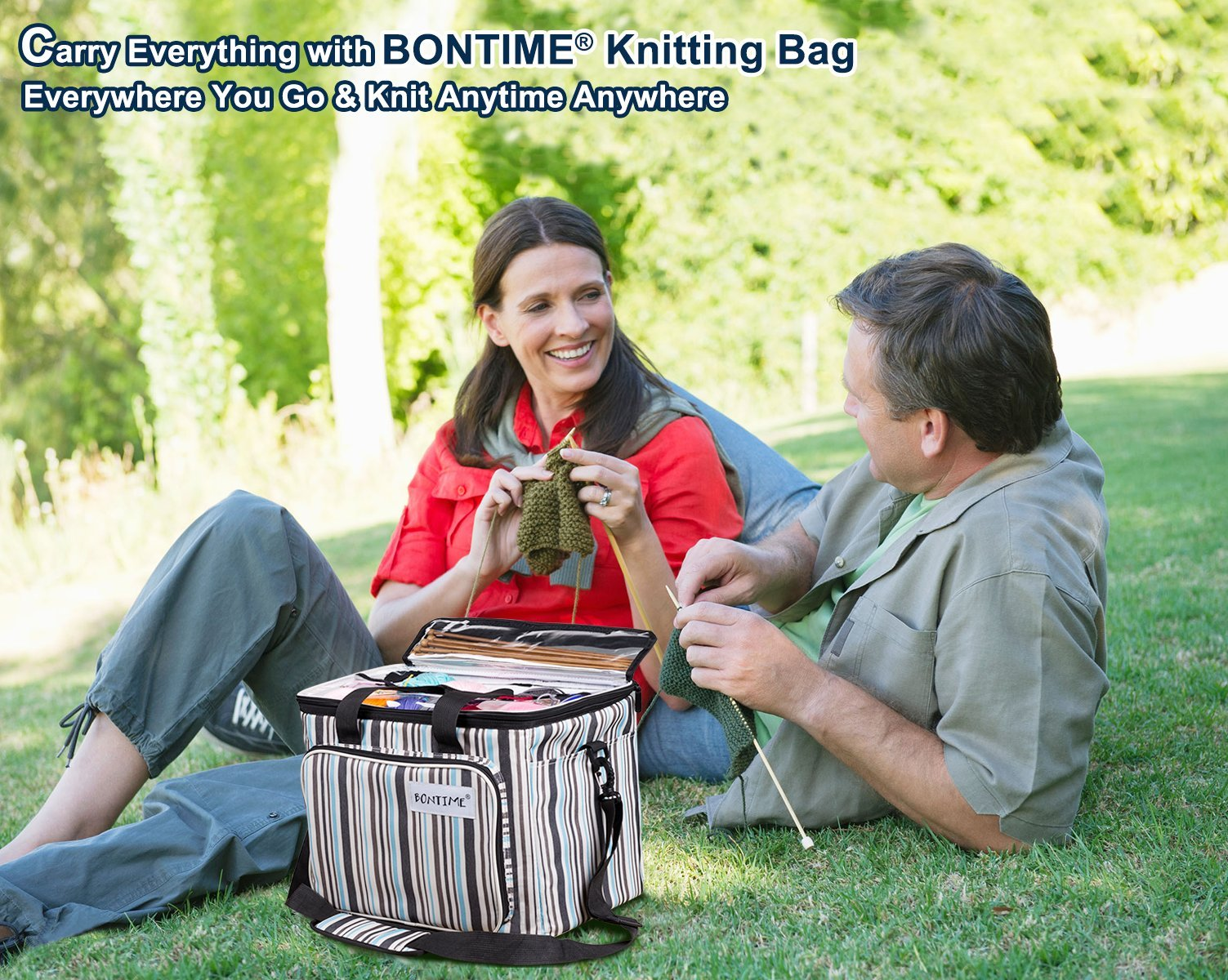 BONTIME Knitting Bag - High Capacity Striped Yarn Storage Tote Bag,Project Bags with Roomy Interior,Great for Organizing Everything You Need for Each of Projects,Large by BONTIME (Image #8)