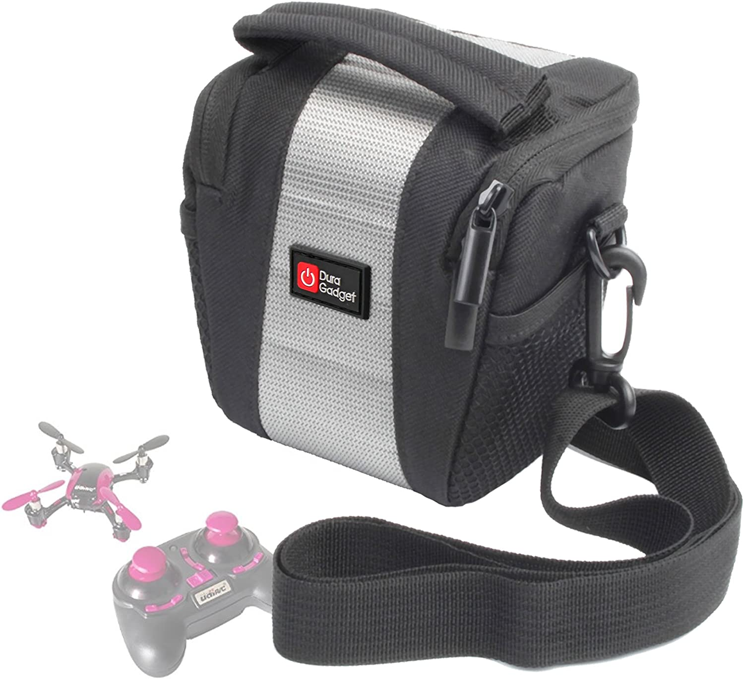 Compatible with The UDI U839 Quadcopter DURAGADGET Water-Resistant Black /& Grey Cross-Body Carry Bag