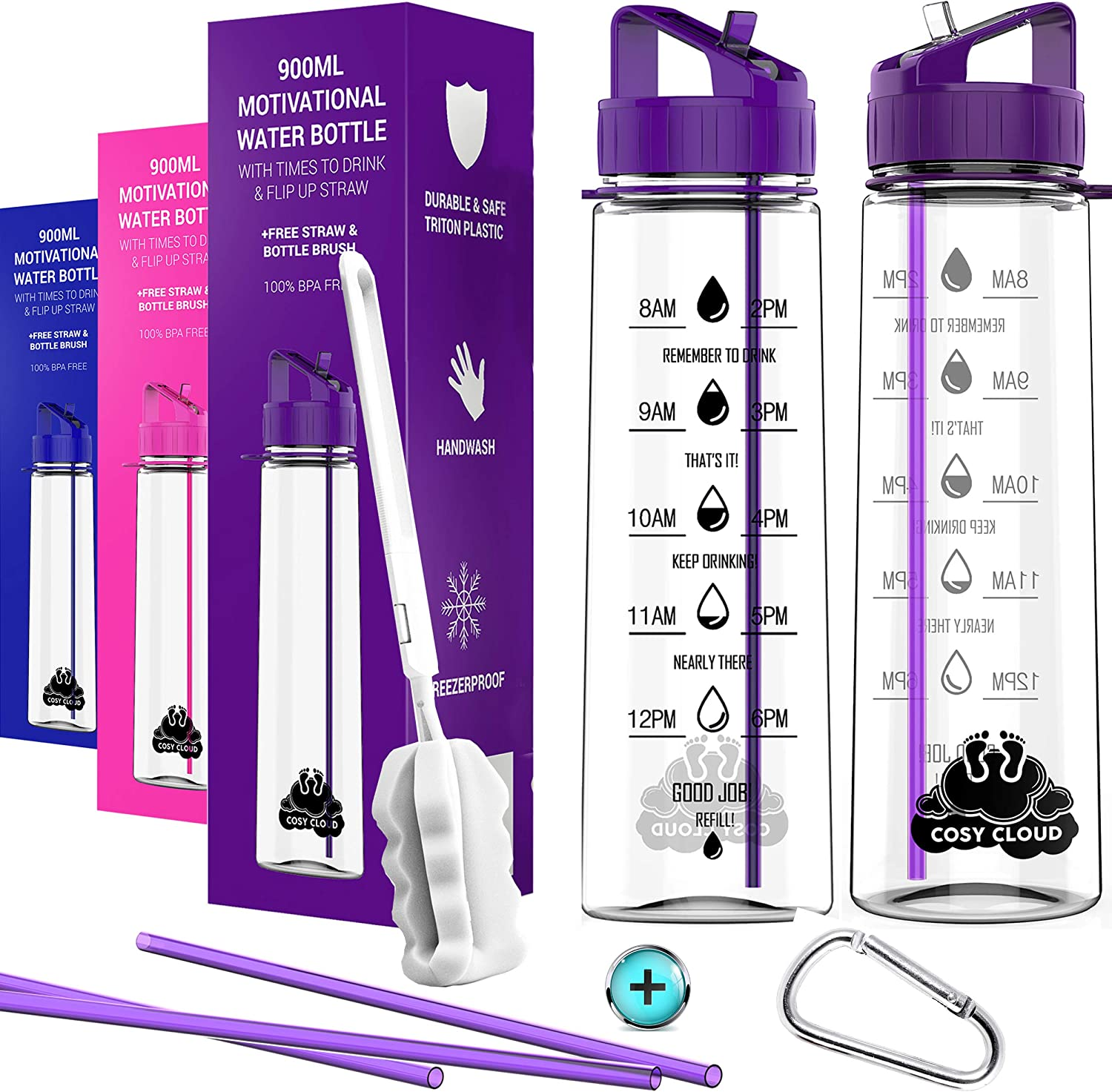 Water Bottle With Straw Motivational Water Bottles With Times To Drink Time Markings Measurements For Sports Gym Office Bpa Free Leak Proof Reusable Tritan Plastic Extra Straws Cleaning