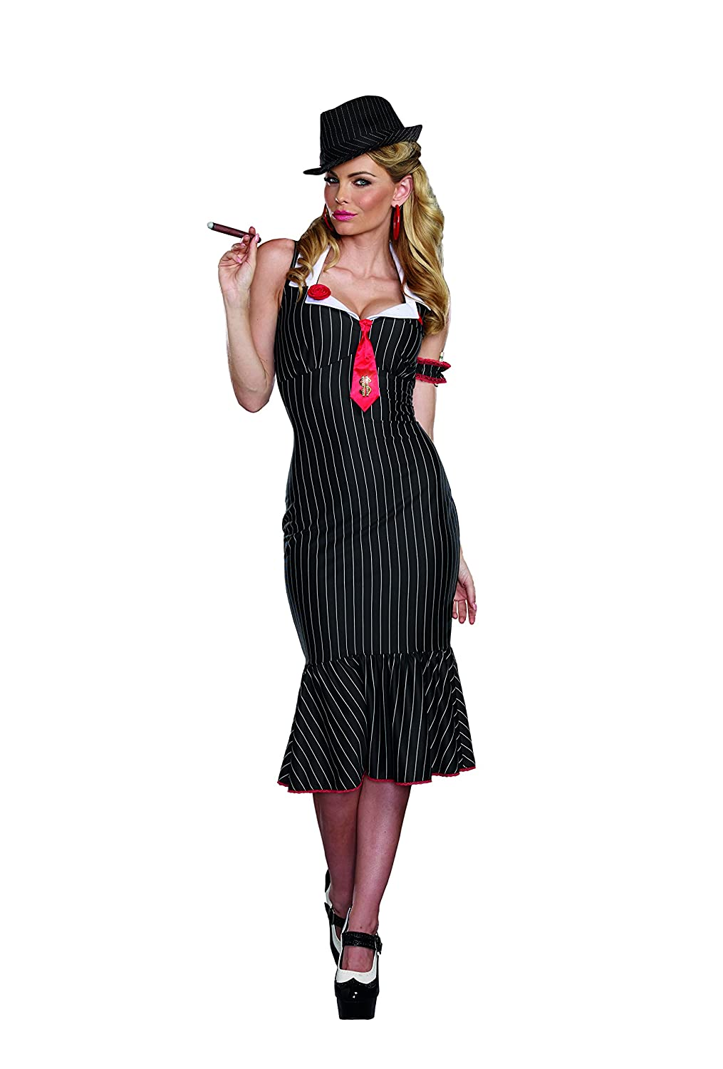 1930s Costumes- Bride of Frankenstein, Betty Boop, Olive Oyl, Bonnie & Clyde Dreamgirl Womens Deadly Dames Pinstripe Gangster Costume $67.00 AT vintagedancer.com