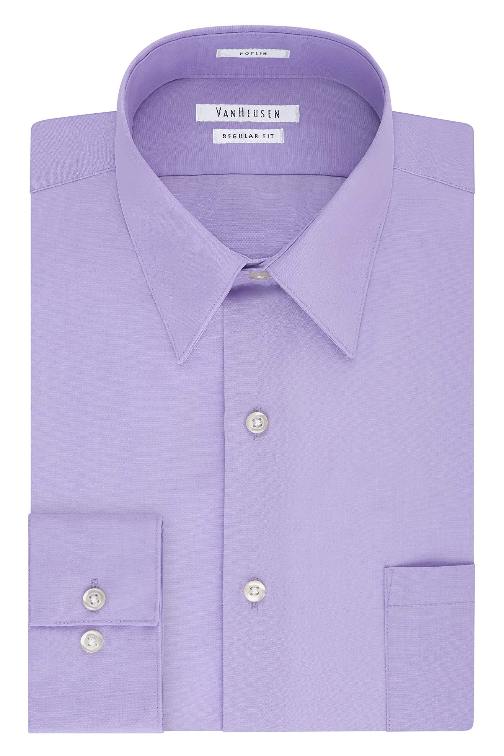 Van Heusen Men's Big and Tall Dress Shirt Regular Fit Poplin Solid, Lavender, 18'' Neck 34''-35'' Sleeve