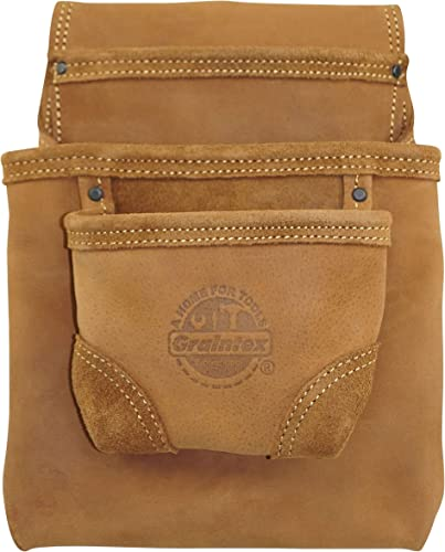 GRAINTEX OS2317 3 Pocket Nail Tool Pouch Top Grain Oil Tanned Leather for Framers, Constructors, Electricians, Plumbers, Handyman