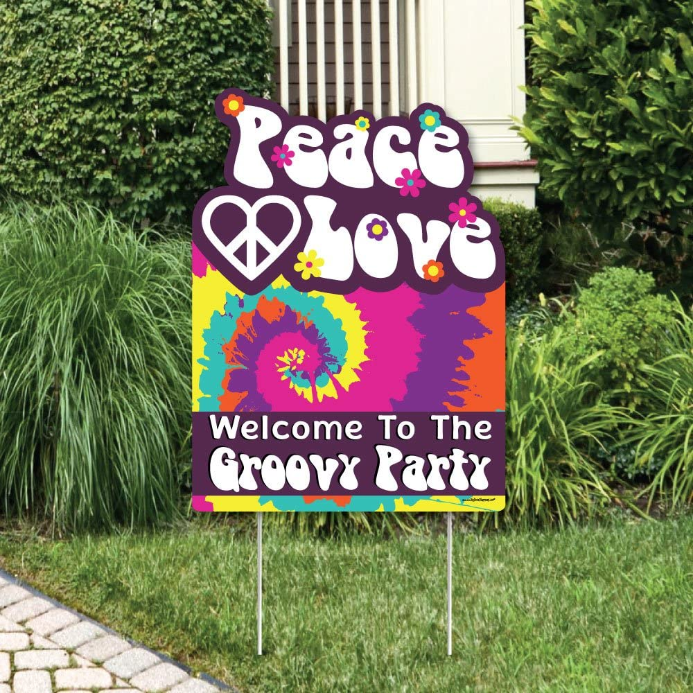 Big Dot of Happiness 60's Hippie - Party Decorations - 1960s Groovy Party Welcome Yard Sign