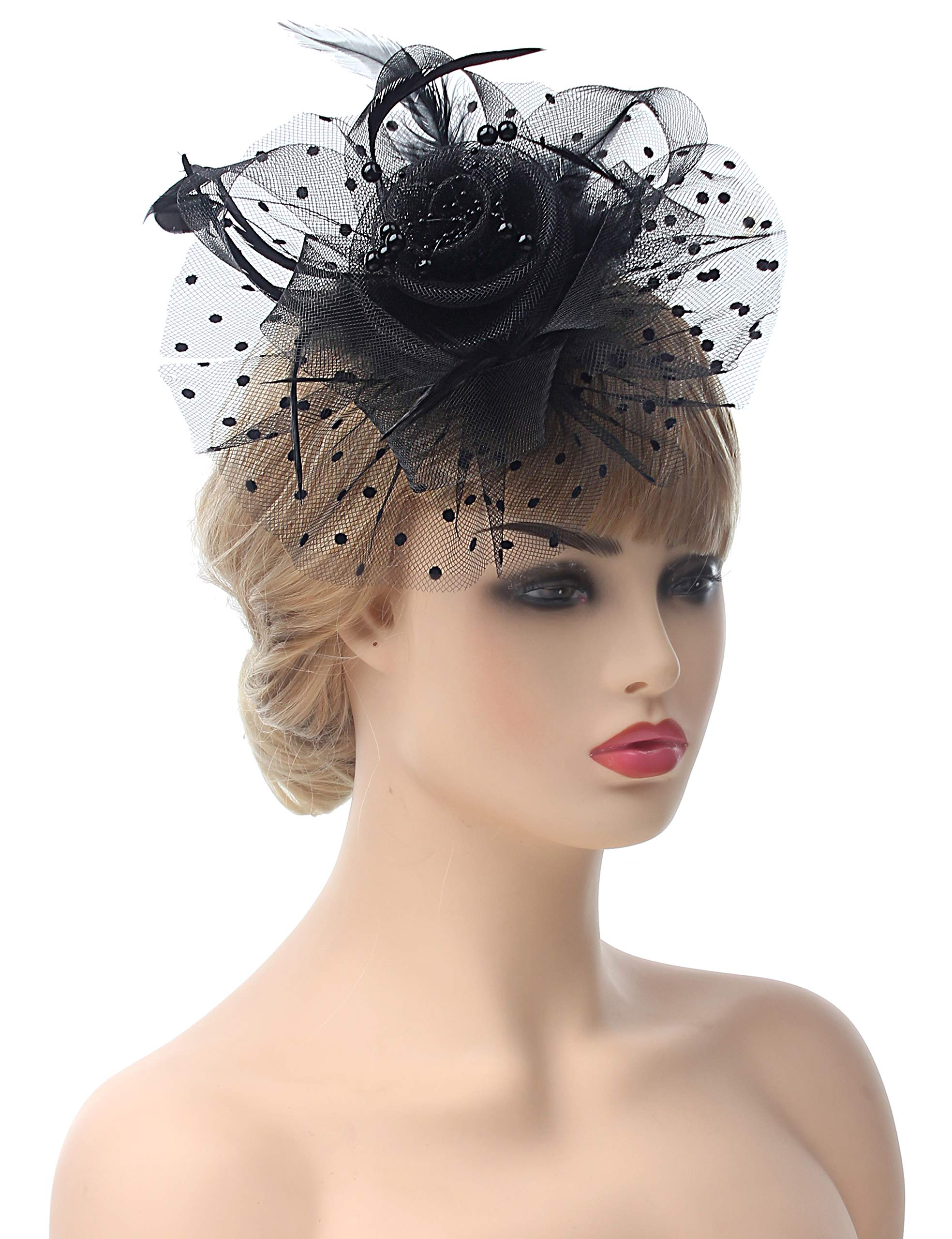 Myjoyday Fascinators Hat for Women Tea Party Headband Kentucky Derby Wedding Cocktail Flower Mesh Feathers Hair Clip (Black-2)