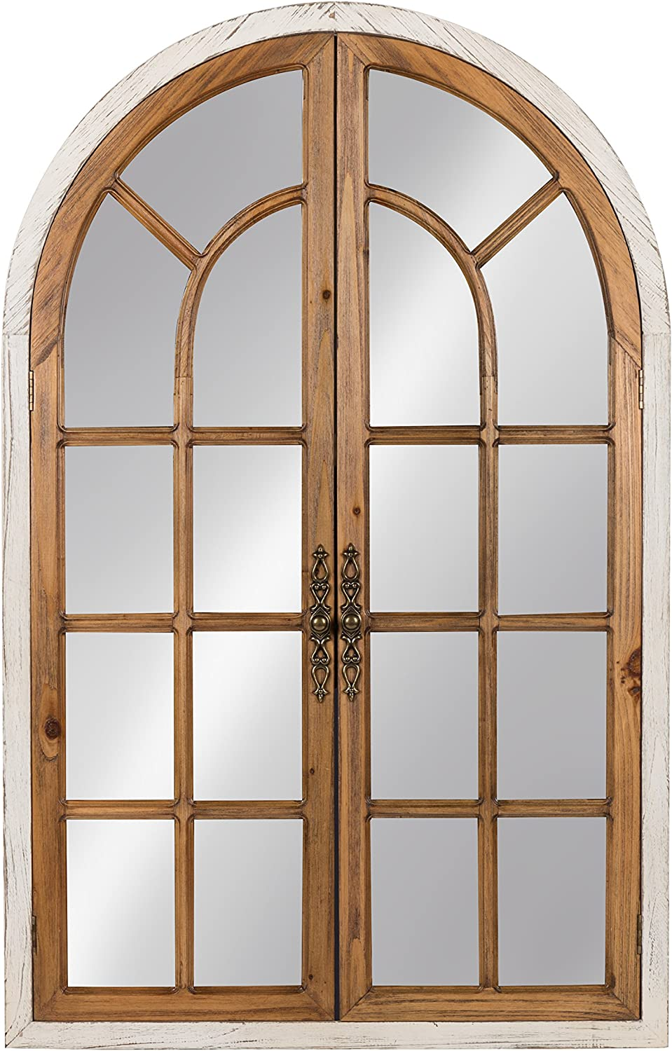 Kate and Laurel Boldmere Wood Windowpane Arch Mirror, 28x44, White