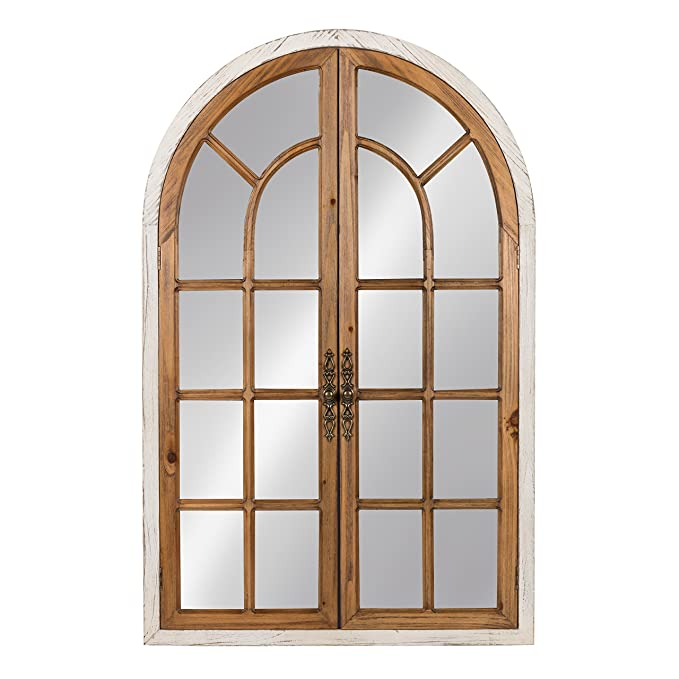 Kate and Laurel Boldmere Large Traditional Wood Windowpane Arch Mirror, 28x44, Rustic Brown and White