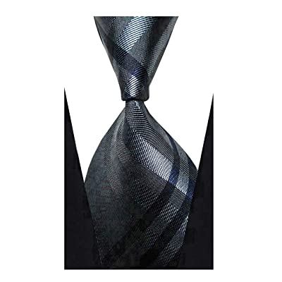 w3dayup Mens Classic Tie Necktie Woven Plaid Neck Ties for Men, Black, Size 8.5: Shoes