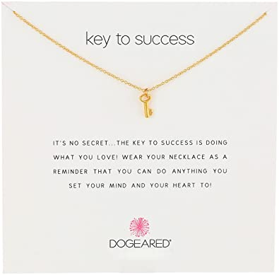 "Dogeared Jewels and Gifts Reminder ""Key To Success"" Gold-Plated Sterling Silver Pendant Necklace: Amazon.co.uk: Jewellery"