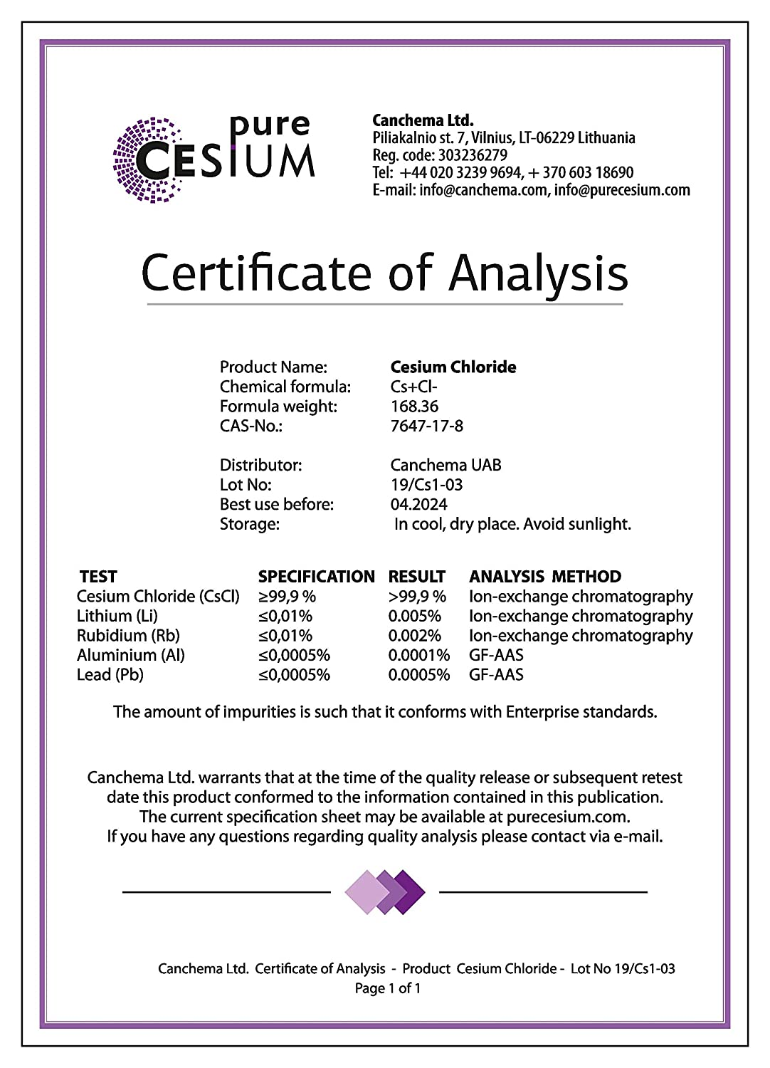 Pure Cesium Chloride CsCl 100g Powder, Purity >99 9%, by Pure Cesium