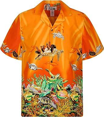 KYs | Original Camisa Hawaiana | Caballeros | S - 6XL | Manga Corta | Bolsillo Delantero | Estampado Hawaiano |arrecife de coral tortugas: Amazon.es: Ropa y accesorios