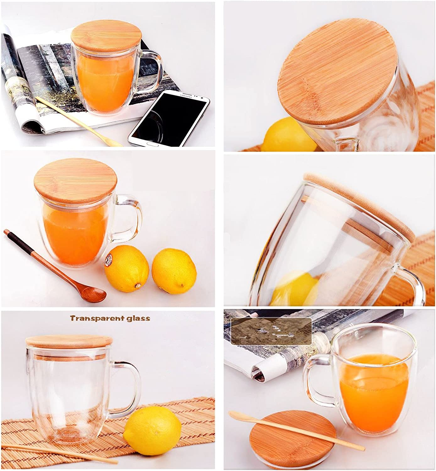 Xshelley 12oz Double wall glass family cups,Coffee Mug Cup Tea Cup with bamboo lid12oz