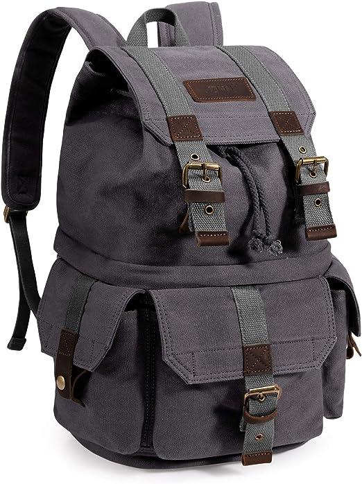 Color : Dark Gray Mens Backpack Mens Waterproof Backpack SLR Canvas Camera Bag SLR Camera Bag Shoulder Photography Backpack
