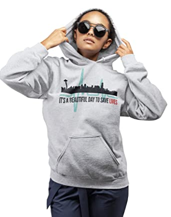 eed24c30 Amazon.com: Greys Anatomy Hoodie Quote It's A Beautiful Day to Save Lives  Men's Unisex Hoodied Sweatshirt: Clothing