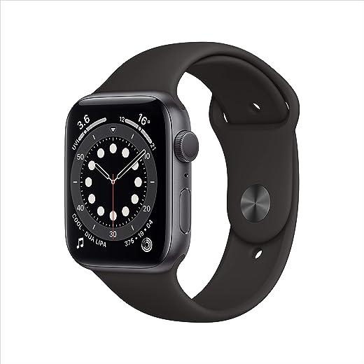 ساعة أبل الاصدار 6 جي بي إس، 44 ملم - هيكل من الألومنيوم الرمادي الكوني مع سوار رياضي باللون الاسود موديل عادي