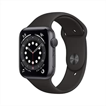 AppleWatch Series 6 (GPS, 44mm) - Space Grey Aluminium Case with Black Sport Band