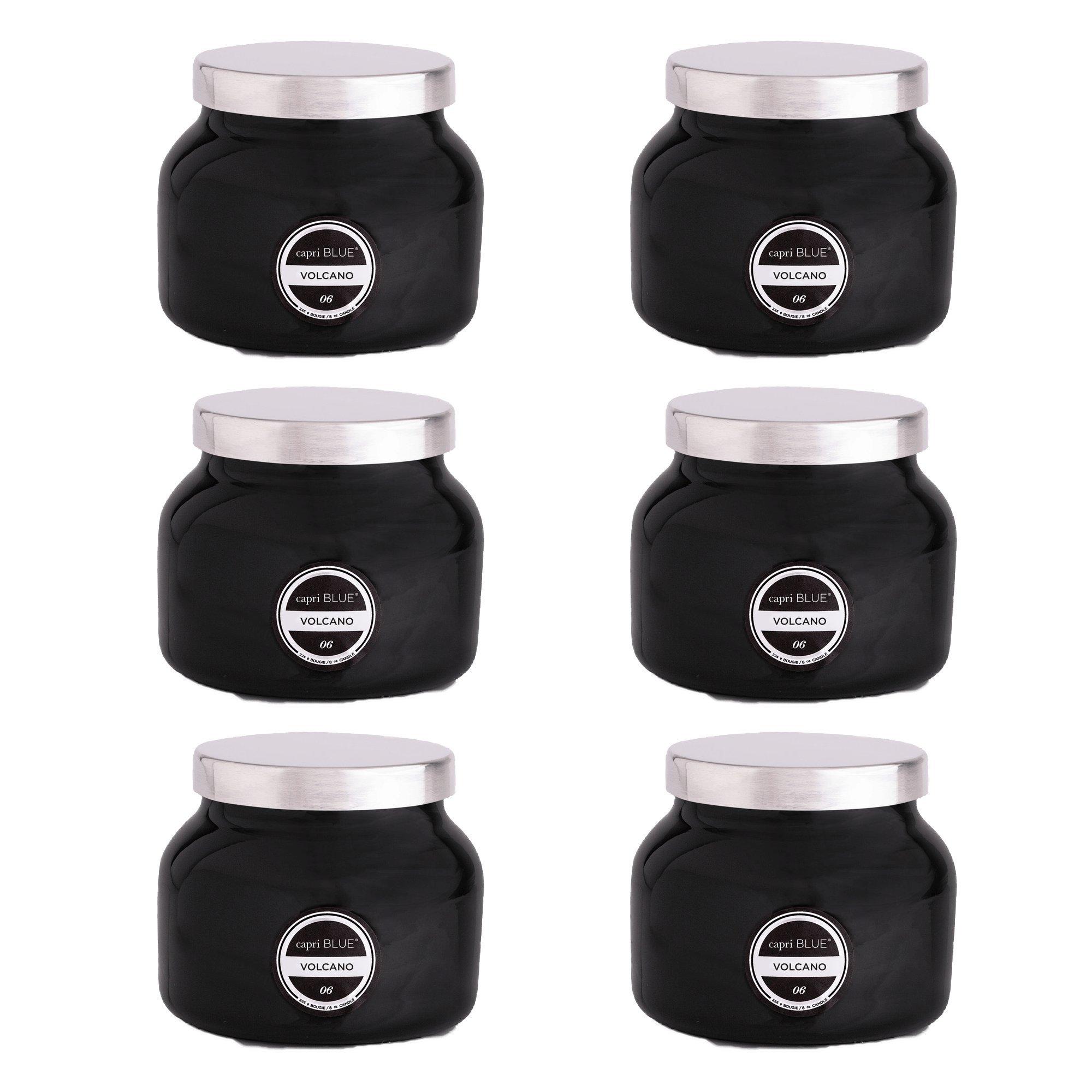 Capri Blue 8 oz Volcano Petite Signature Black Jar Candle (6 pack)