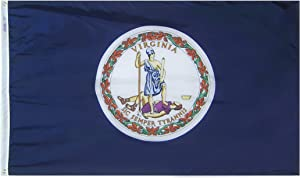 Annin Flagmakers Model 145660 Virginia State Flag 3x5 ft. Nylon SolarGuard Nyl-Glo 100% Made in USA to Official State Design Specifications.