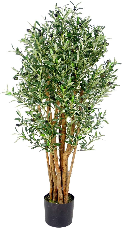 Leaf Artificial Fruit Tree Black Plastic Pot-by Design UK 120cm Bay Olive Topiary