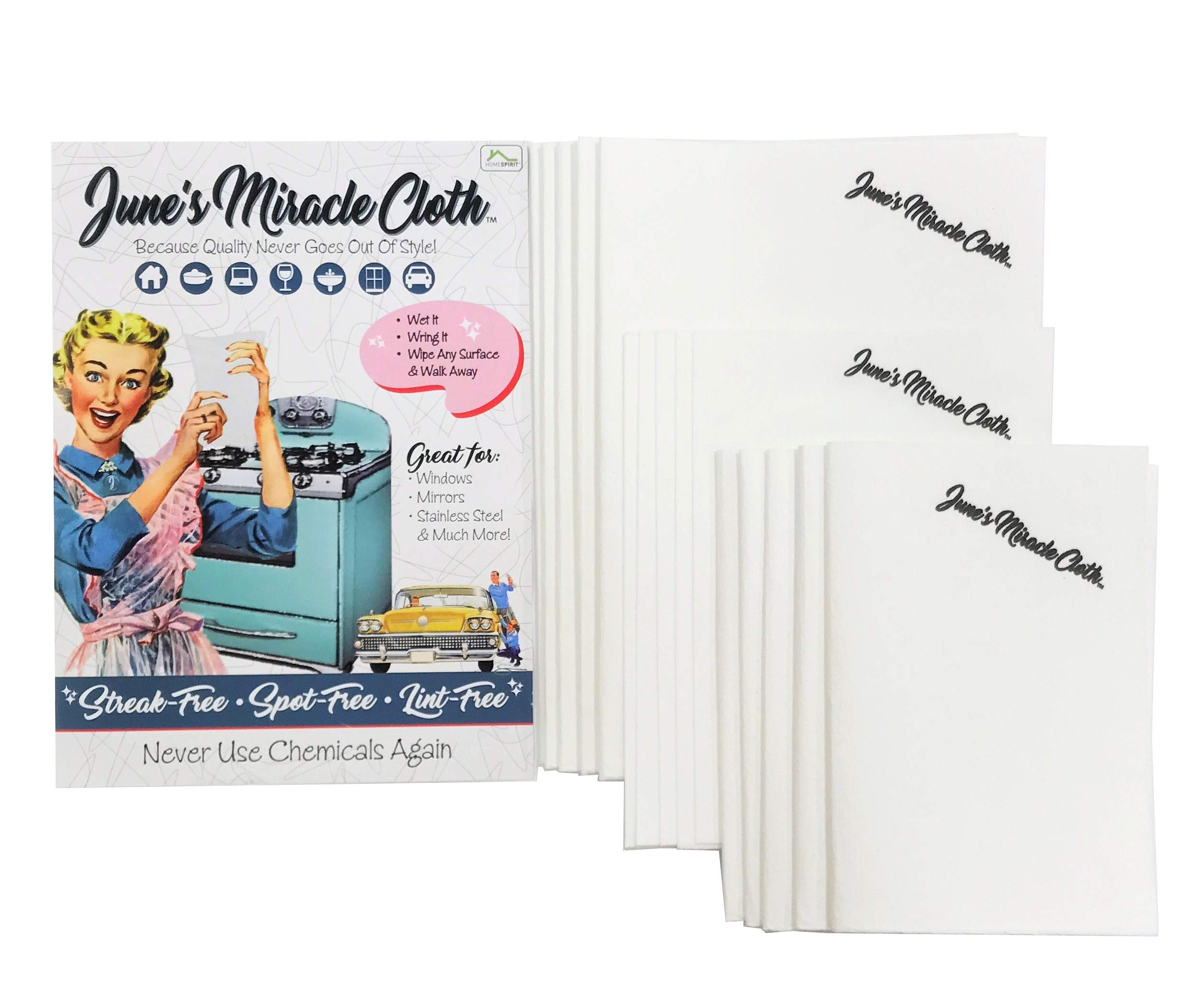 June's Miracle Cloth, Streak-Free Microfiber Cloth, Window Cloth, Car Detailing Towels, Glass Polishing Cloth, Lint-Free Cloths, Stainless Steel Wipes, 15pc by Home Spirit (Image #1)