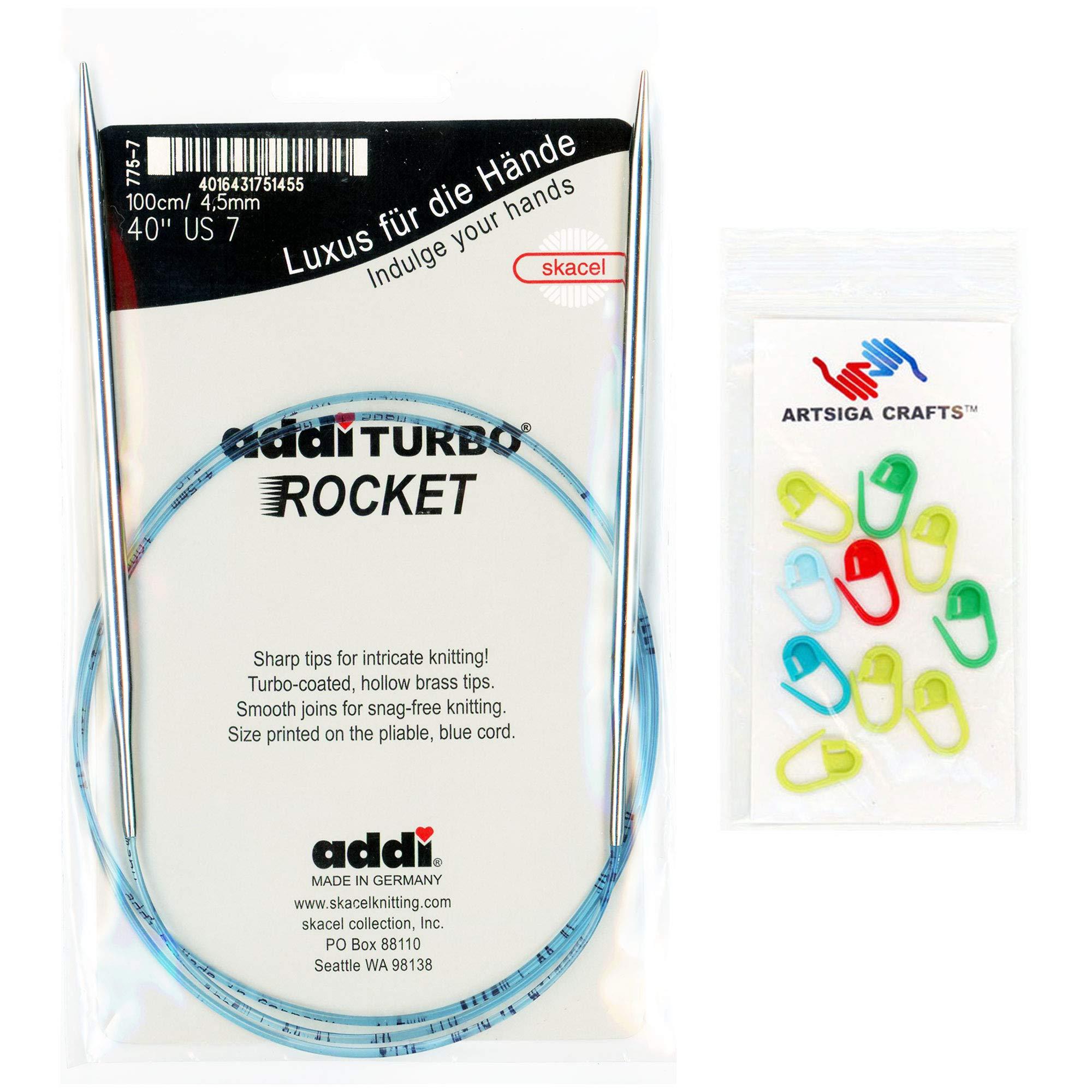 addi Knitting Needle Circular Turbo Rocket Lace White-Bronze Skacel Exclusive Blue Cord 60 inch (150cm) Size US 13 (9.0mm) Bundle with 10 Artsiga Crafts Stitch Markers