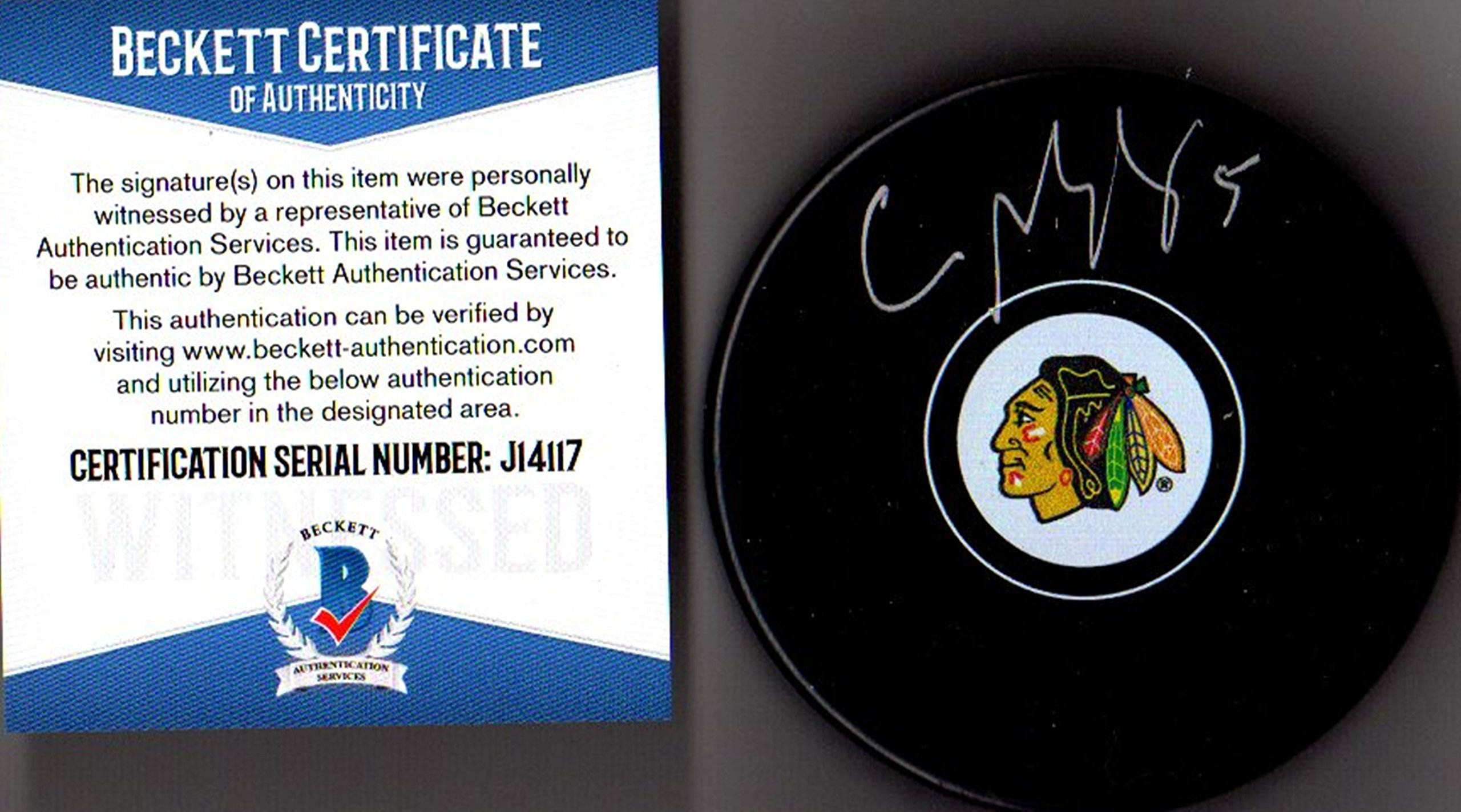 Beckett BAS Connor Murphy Autographed Signed Chicago Blackhawks Logo Puck