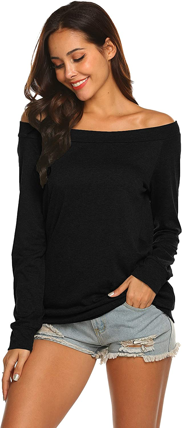 SEAWEED Womens Boat Neck Off Shoulder Solid Casual Fitted Long Sleeve Tunic Shirts