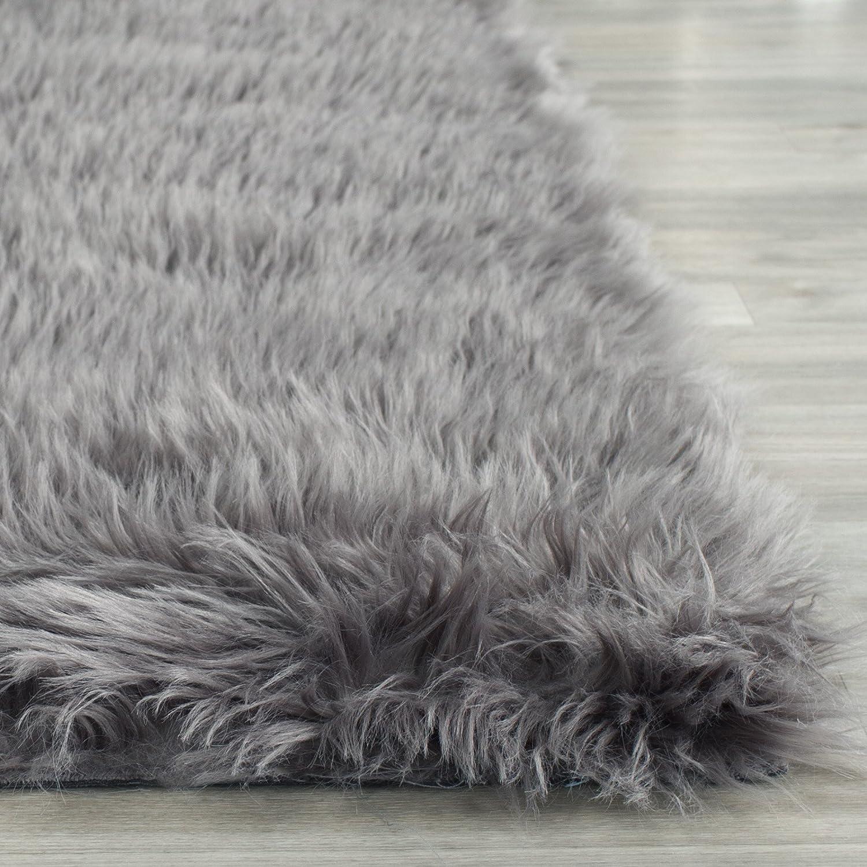 amazoncom safavieh faux silky sheepskin fss235d grey area shag rug 2u0027 x 3u0027 kitchen u0026 dining