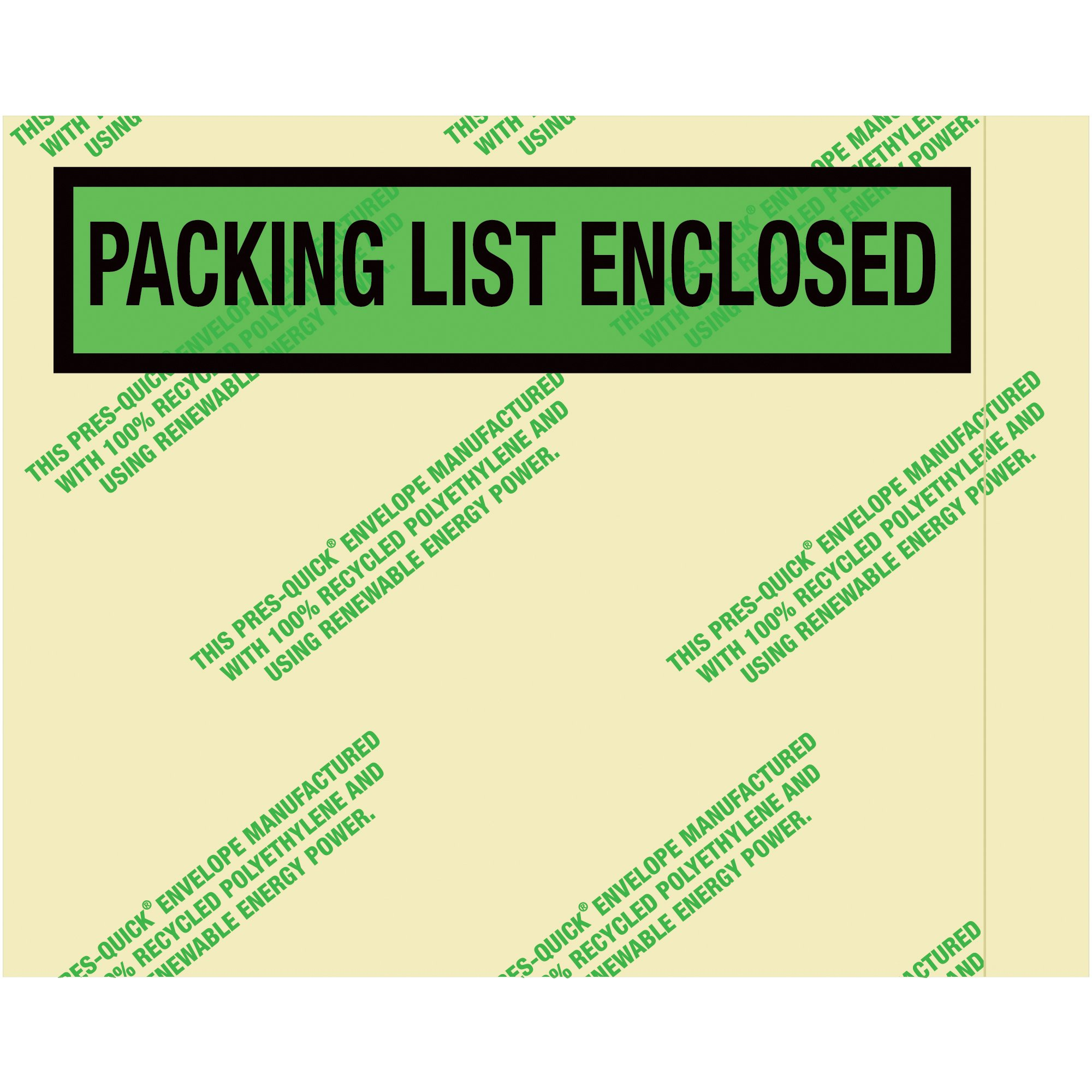 Boxes Fast BFPQGREEN19 Environmental''Packing List Enclosed'' Envelopes, Load Capacity, 7'' Length, 5width,'' Thick, Green (Pack of 1000)