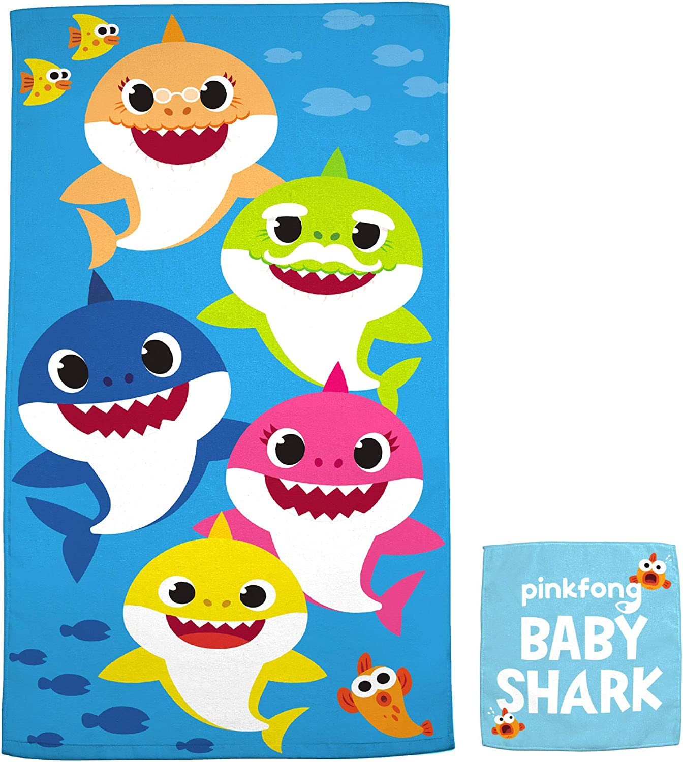 "Franco Kids Bath and Beach Soft Cotton Terry Towel with Washcloth Set, 25"" x 50"", Baby Shark"