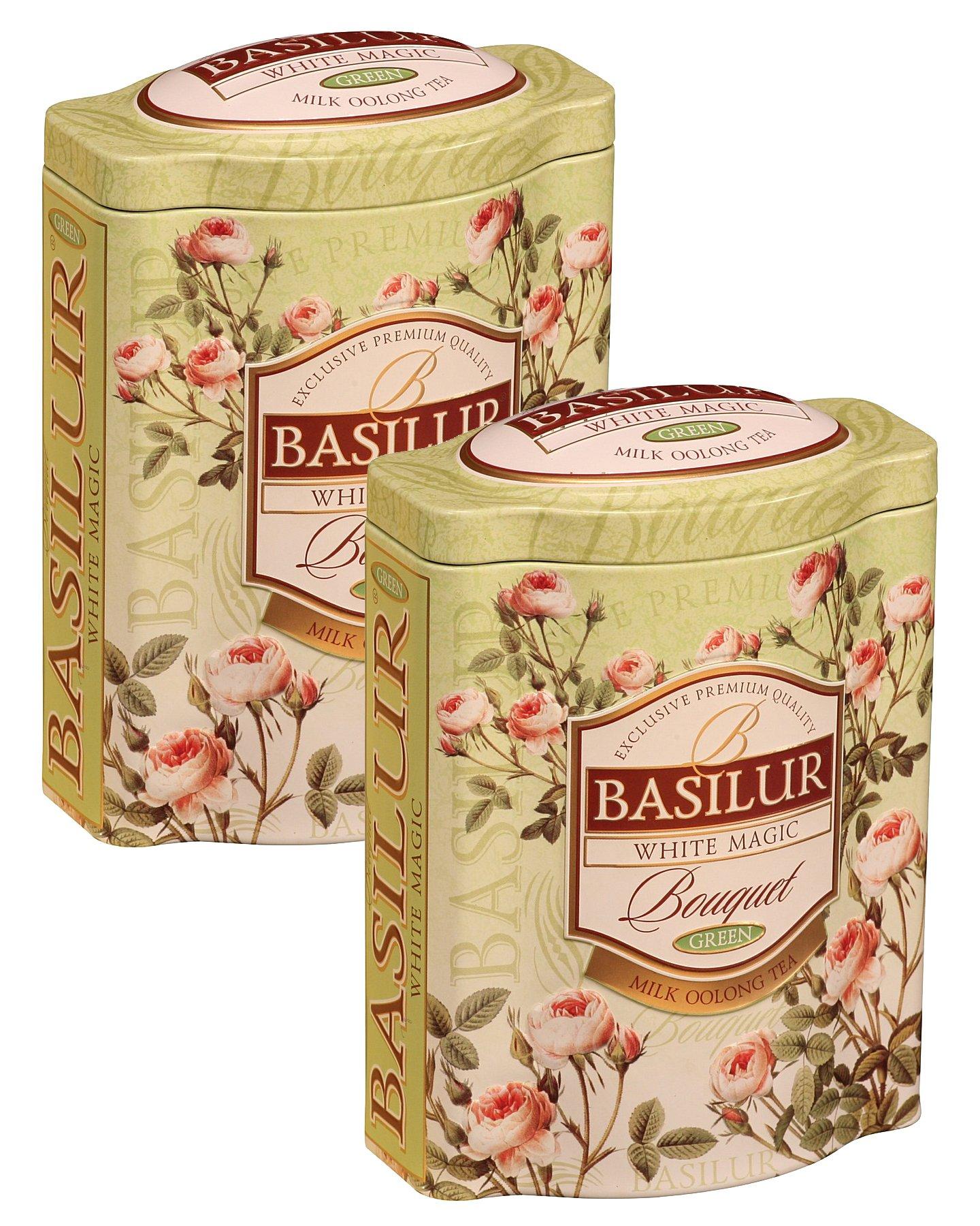 Basilur | White Magic Tea | Rare Milk Oolong Green Tea | Ultra- Premium Ceylon Green Loose Tea | Bouquet Collection | Single Origin | Non GMO | 100g / 3.52 oz. Tin Caddy | (Pack of 2)