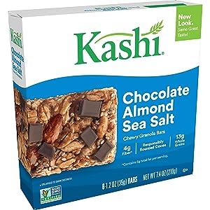 Kashi Chewy Chocolate Almond Sea Salt Granola Bars - Vegan, Box of 6 (Pack of 8)