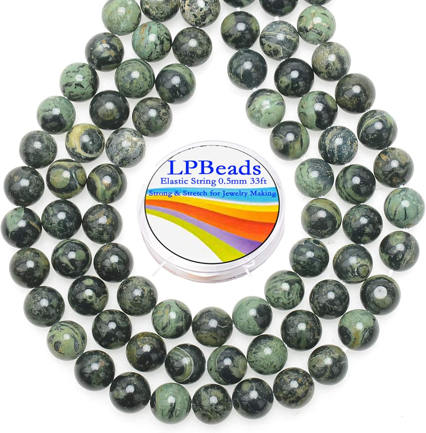 LPBeads 200Pcs Polished 6mm Round Natural Black Larvikite Gemstone Loose Beads with Stretch Cord for Jewelry Making Bracelets