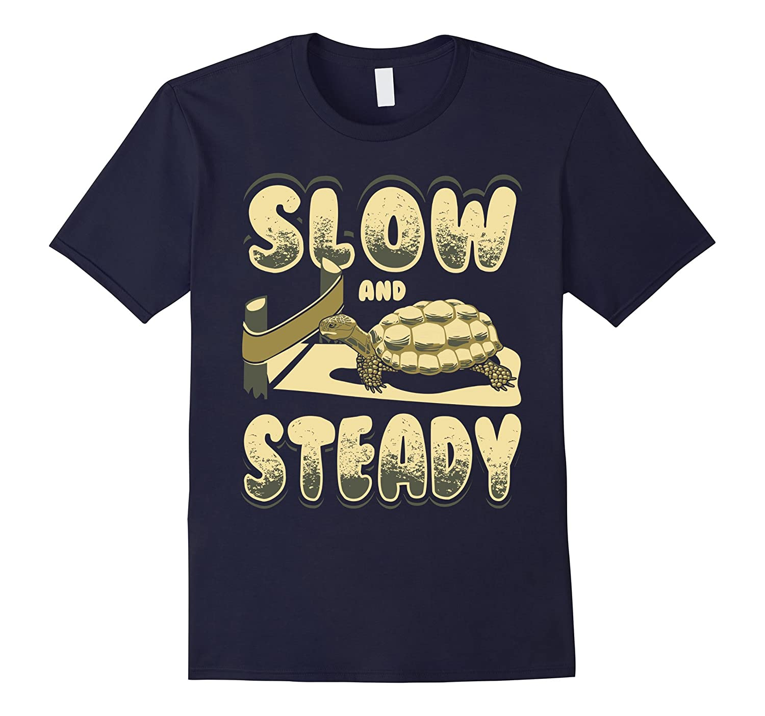 Slow and Steady Wins the Race Motivational Tortoise T-Shirt-FL