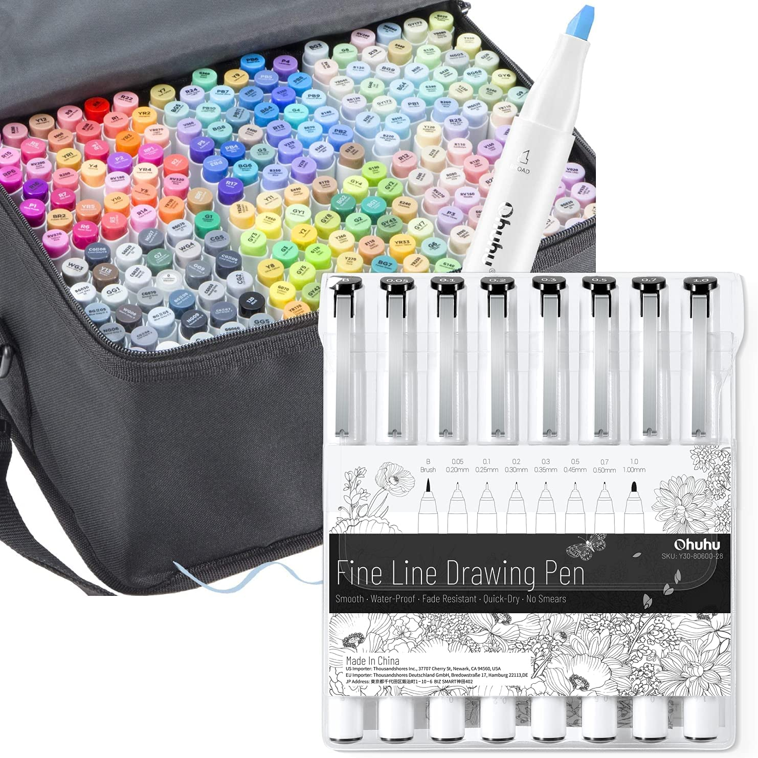 Ohuhu Alcohol Art Markers Set, 216-color Double Tipped Brush & Chisel Sketch Marker, Alcohol-based Brush Markers, Comes w/ 1 Blender + Fineliner Drawing Pen Set of 8 Pack Ultra Fine Line Drawing Marke