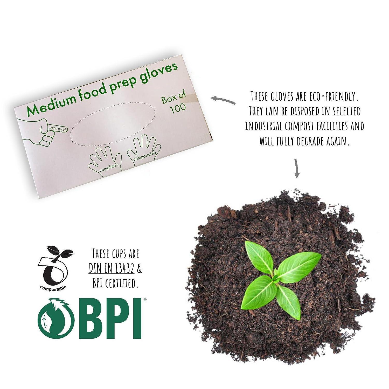 /Écologique Casparo Eco De Gants a 100/% compostables Gants jetables organiques 100 x Gants jetables id/éal pour les denr/ées alimentaires Sans plastifiants malsains et sans produits chimiques