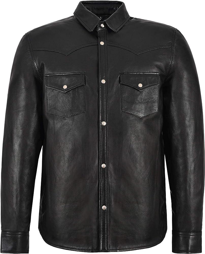 Smart Range Leather Co Ltd. Camisa de Cuero para Hombres Collar Ajustable Negro Casual Retro Suave Real Piel de Cordero 6552 (S): Amazon.es: Ropa y accesorios