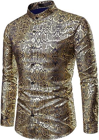 JOLIME Camisa Hombre Manga Larga Cuello Mao Piel Serpiente Brillante Casual Clubwear Halloween Cosplay: Amazon.es: Ropa y accesorios