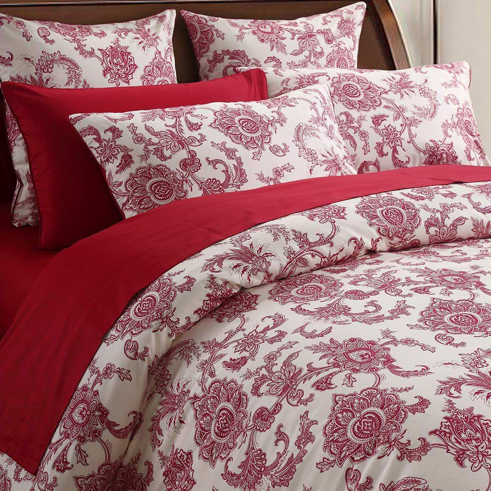 Softta Luxury Full Size Vintage Red Flower Paisley Pattern on Off- White Retro Lvory White Fresh Chic Boho Floral Bedding Sets 3Pcs Duvet Cover Set 100% Egyptian Cotton Bedding Collection