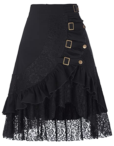 7e146c6f26 Belle Poque Steampunk Gothic Vintage Victorian Gypsy Hippie Lace Falda de  Fiesta para Mujer (S